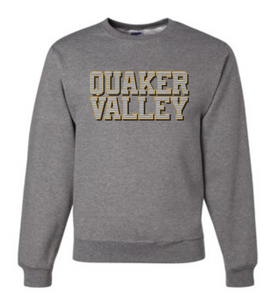 QUAKER VALLEY STRIPE DESIGN YOUTH & ADULT CREW NECK SWEATSHIRT