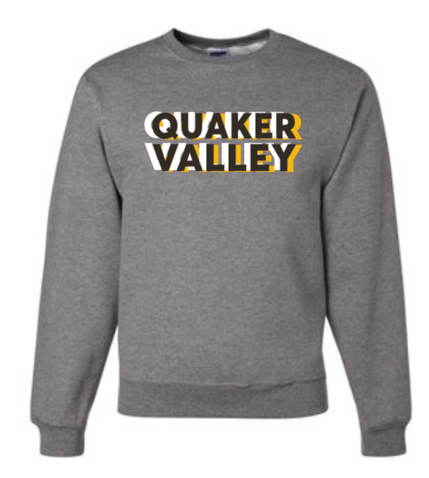 QUAKER VALLEY TRI-COLORED YOUTH & ADULT CREW NECK SWEATSHIRT