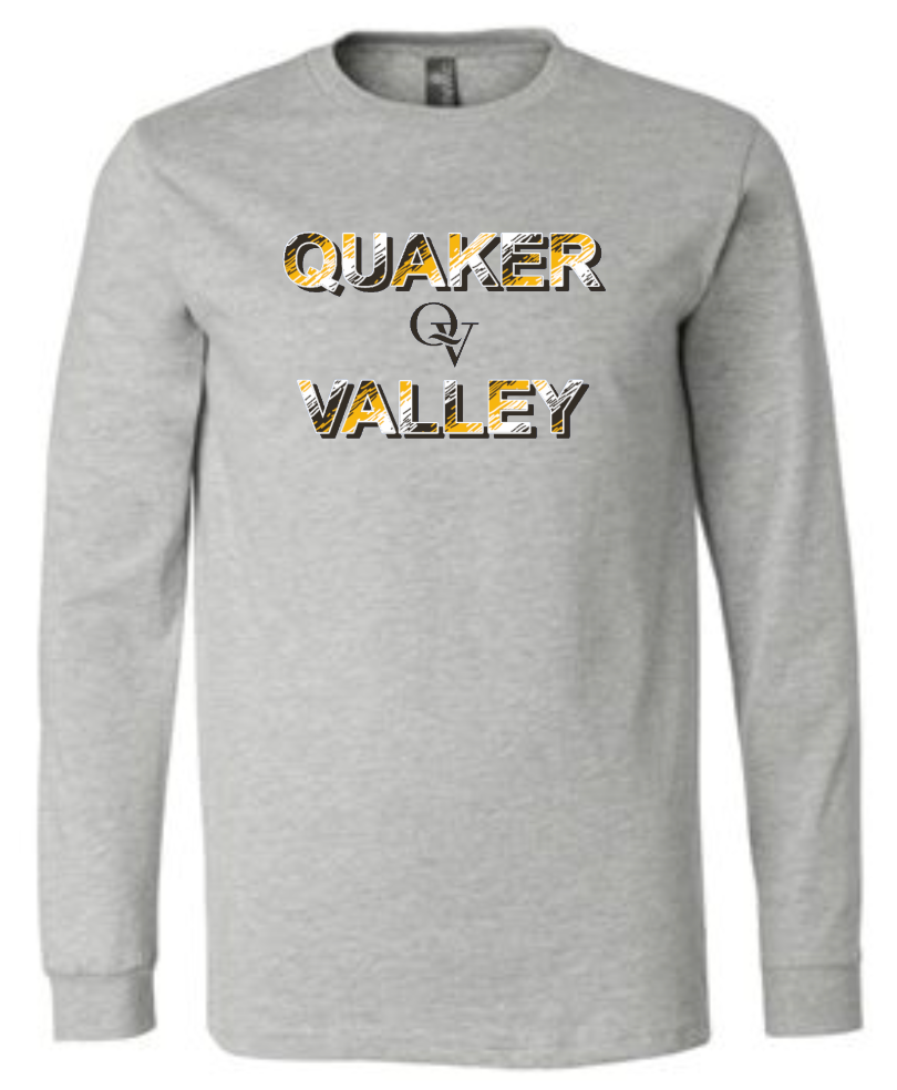QUAKER VALLEY TRI-COLORED QV LOGO YOUTH & ADULT LONG SLEEVE TEE