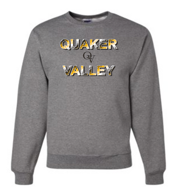 QUAKER VALLEY TRI-COLOR QV YOUTH & ADULT CREW NECK SWEATSHIRT