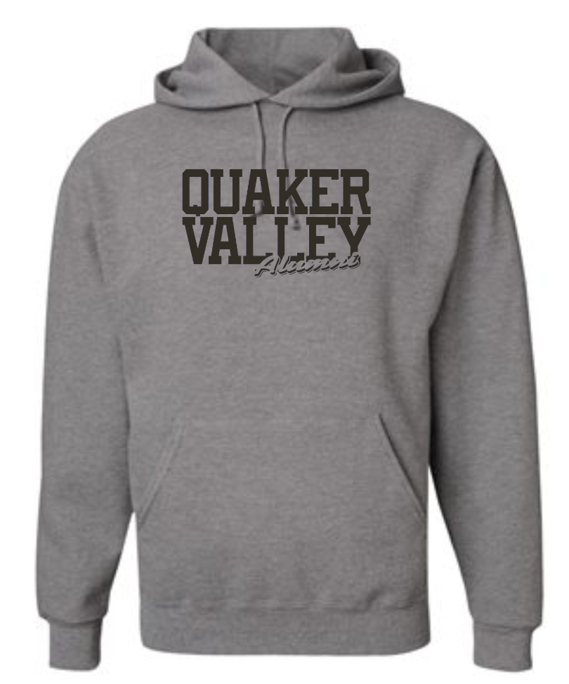 QUAKER VALLEY ALUMNI SCRIPT ADULT HOODED SWEATSHIRT