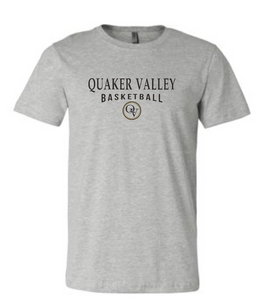 QUAKER VALLEY BASKETBALL 20/21 YOUTH & ADULT SHORT SLEEVE T-SHIRT - ATHLETIC GRAY