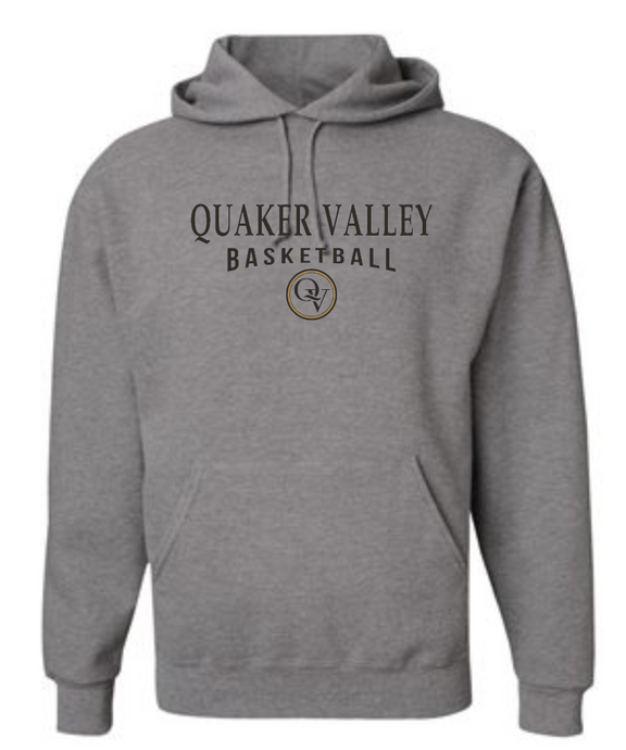 QUAKER VALLEY BASKETBALL 20/21 YOUTH & ADULT HOODED SWEATSHIRT - OXFORD GRAY