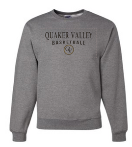 QUAKER VALLEY BASKETBALL 20/21 YOUTH & ADULT CREW NECK SWEATSHIRT - OXFORD GRAY