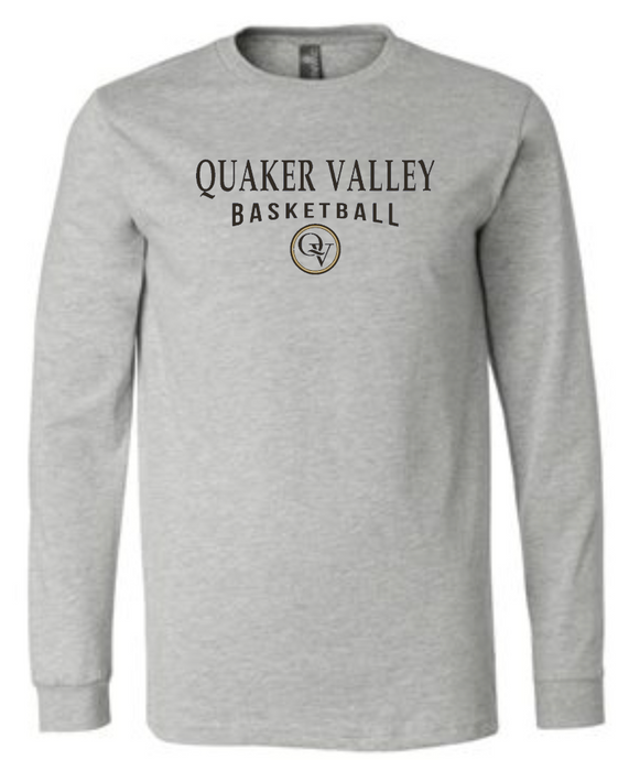QUAKER VALLEY BASKETBALL 20/21 YOUTH & ADULT LONG SLEEVE TEE -  ATHLETIC GREY
