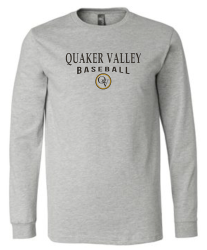 QUAKER VALLEY BASEBALL 20/21 YOUTH & ADULT LONG SLEEVE TEE -  ATHLETIC GREY