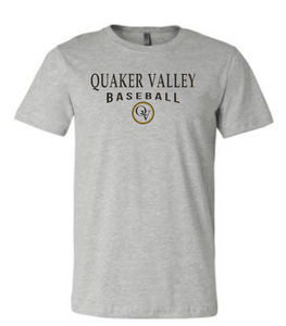 QUAKER VALLEY BASEBALL 20/21 YOUTH & ADULT SHORT SLEEVE T-SHIRT - ATHLETIC GRAY