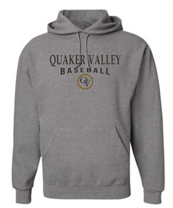 QUAKER VALLEY BASEBALL 20/21 YOUTH & ADULT HOODED SWEATSHIRT - OXFORD GRAY