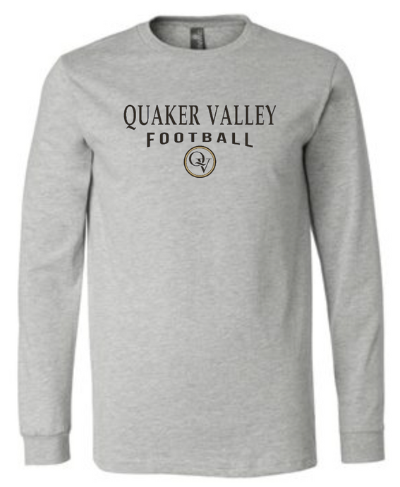 QUAKER VALLEY FOOTBALL 20/21 YOUTH & ADULT LONG SLEEVE TEE -  ATHLETIC GREY