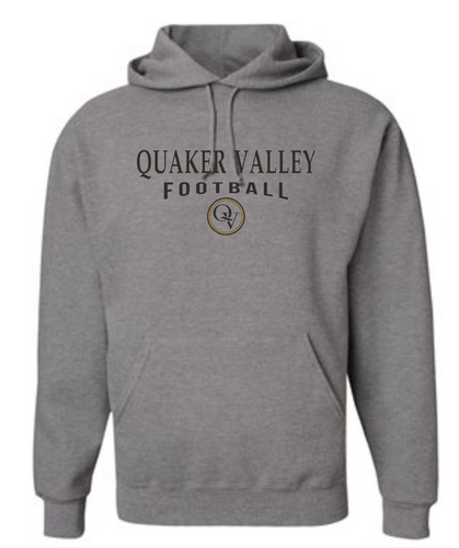 QUAKER VALLEY FOOTBALL 20/21 YOUTH & ADULT HOODED SWEATSHIRT - OXFORD GRAY
