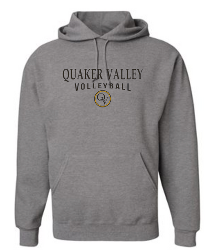 QUAKER VALLEY VOLLEYBALL 20/21 YOUTH & ADULT HOODED SWEATSHIRT - OXFORD GRAY