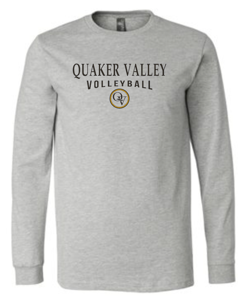 QUAKER VALLEY VOLLEYBALL 20/21 YOUTH & ADULT LONG SLEEVE TEE -  ATHLETIC GREY