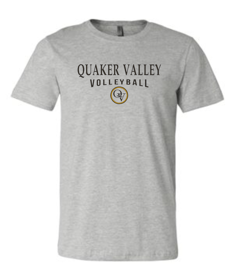 QUAKER VALLEY VOLLEYBALL 20/21 YOUTH & ADULT SHORT SLEEVE T-SHIRT - ATHLETIC GRAY