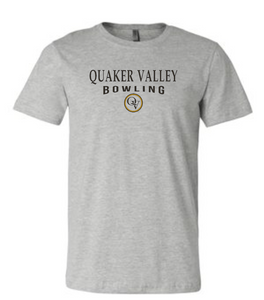 QUAKER VALLEY BOWLING 20/21 YOUTH & ADULT SHORT SLEEVE T-SHIRT - ATHLETIC GRAY
