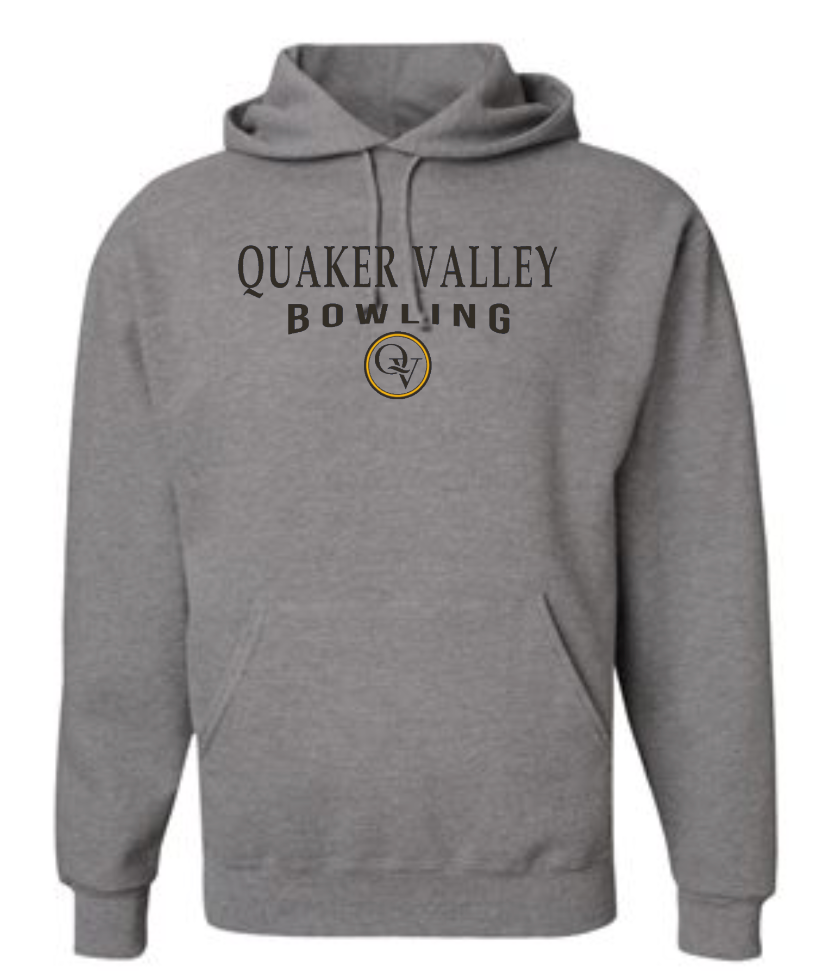 QUAKER VALLEY BOWLING 20/21 YOUTH & ADULT HOODED SWEATSHIRT - OXFORD GRAY