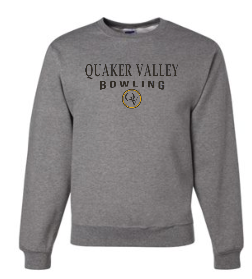 QUAKER VALLEY BOWLING 20/21 YOUTH & ADULT CREW NECK SWEATSHIRT - OXFORD GRAY