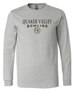 QUAKER VALLEY BOWLING 20/21 YOUTH & ADULT LONG SLEEVE TEE -  ATHLETIC GREY