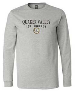 QUAKER VALLEY ICE HOCKEY 20/21 YOUTH & ADULT LONG SLEEVE TEE -  ATHLETIC GREY