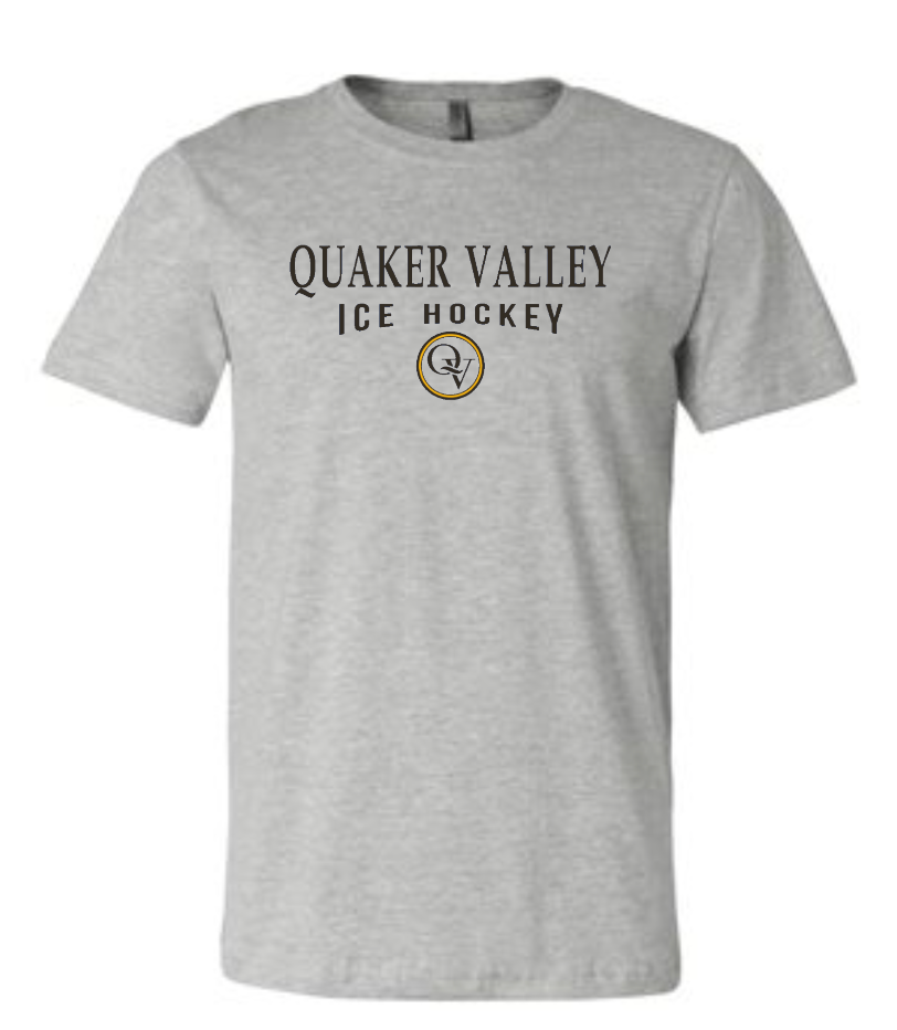 QUAKER VALLEY ICE HOCKEY 20/21 YOUTH & ADULT SHORT SLEEVE T-SHIRT - ATHLETIC GRAY