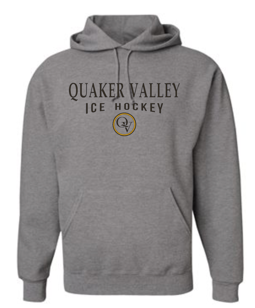 QUAKER VALLEY ICE HOCKEY 20/21 YOUTH & ADULT HOODED SWEATSHIRT - OXFORD GRAY