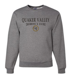 QUAKER VALLEY SWIMMING & DIVING 20/21 YOUTH & ADULT CREW NECK SWEATSHIRT - OXFORD GRAY