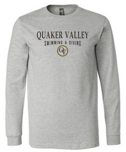 QUAKER VALLEY SWIMMING & DIVING 20/21 YOUTH & ADULT LONG SLEEVE TEE -  ATHLETIC GREY
