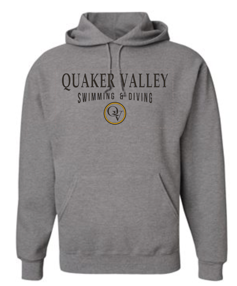 QUAKER VALLEY SWIMMING & DIVING 20/21 YOUTH & ADULT HOODED SWEATSHIRT - OXFORD GRAY