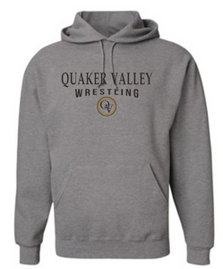 QUAKER VALLEY WRESTLING 20/21 YOUTH & ADULT HOODED SWEATSHIRT - OXFORD GRAY