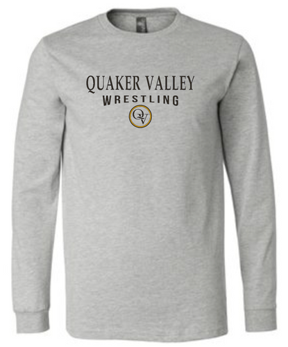 QUAKER VALLEY WRESTLING 20/21 YOUTH & ADULT LONG SLEEVE TEE -  ATHLETIC GREY