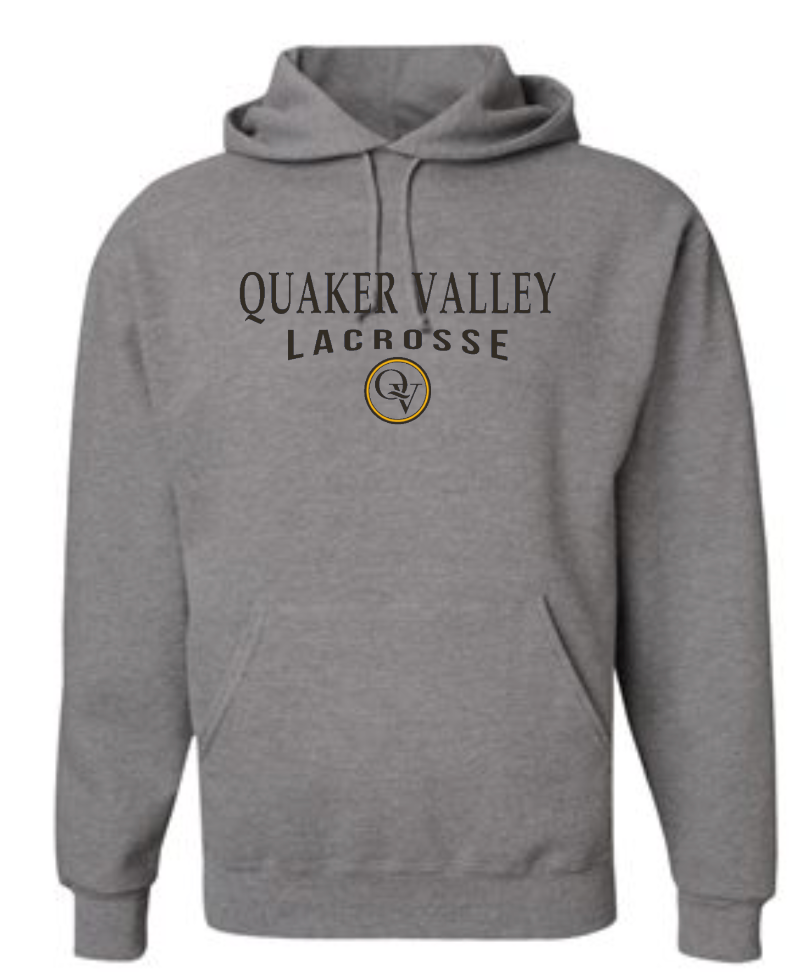 QUAKER VALLEY LACROSSE 20/21 YOUTH & ADULT HOODED SWEATSHIRT - OXFORD GRAY