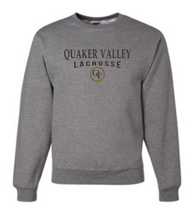 QUAKER VALLEY LACROSSE 20/21 YOUTH & ADULT CREW NECK SWEATSHIRT - OXFORD GRAY