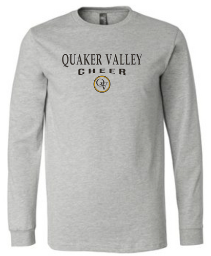 QUAKER VALLEY CHEER 20/21 YOUTH & ADULT LONG SLEEVE TEE -  ATHLETIC GREY