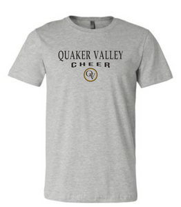 QUAKER VALLEY CHEER 20/21 YOUTH & ADULT SHORT SLEEVE T-SHIRT - ATHLETIC GRAY