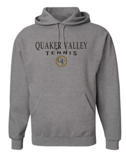 QUAKER VALLEY TENNIS 20/21 YOUTH & ADULT HOODED SWEATSHIRT - OXFORD GRAY