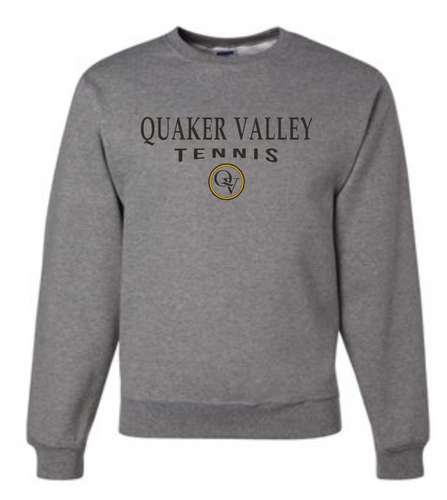 QUAKER VALLEY TENNIS 20/21 YOUTH & ADULT CREW NECK SWEATSHIRT - OXFORD GRAY