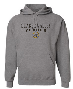 QUAKER VALLEY SOCCER 20/21 YOUTH & ADULT HOODED SWEATSHIRT - OXFORD GRAY