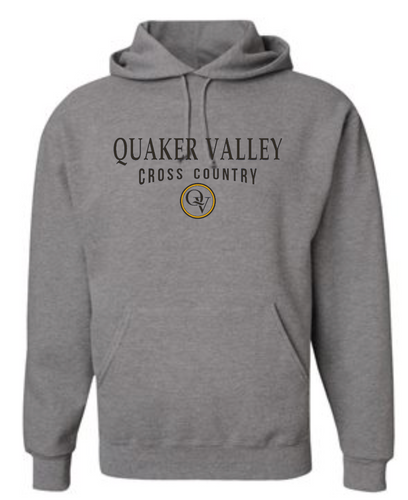QUAKER VALLEY CROSS COUNTRY 20/21 YOUTH & ADULT HOODED SWEATSHIRT - OXFORD GRAY