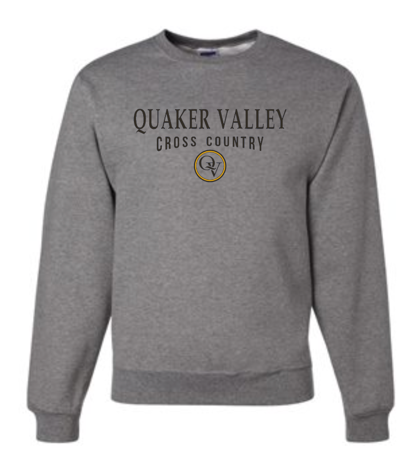 QUAKER VALLEY CROSS COUNTRY 20/21 YOUTH & ADULT CREW NECK SWEATSHIRT - OXFORD GRAY