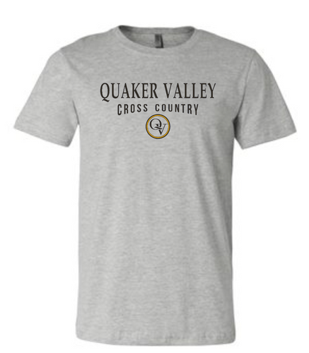QUAKER VALLEY CROSS COUNTRY 20/21 YOUTH & ADULT SHORT SLEEVE T-SHIRT - ATHLETIC GRAY