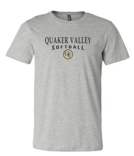 QUAKER VALLEY SOFTBALL 20/21 YOUTH & ADULT SHORT SLEEVE T-SHIRT - ATHLETIC GRAY