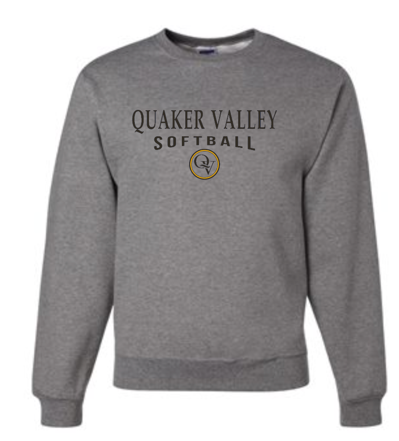 QUAKER VALLEY SOFTBALL 20/21 YOUTH & ADULT CREW NECK SWEATSHIRT - OXFORD GRAY