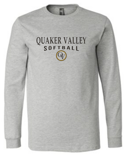 QUAKER VALLEY SOFTBALL 20/21 YOUTH & ADULT LONG SLEEVE TEE -  ATHLETIC GREY