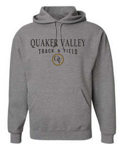 QUAKER VALLEY TRACK & FIELD 20/21 YOUTH & ADULT HOODED SWEATSHIRT - OXFORD GRAY
