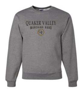 QUAKER VALLEY MARCHING BAND 20/21 YOUTH & ADULT CREW NECK SWEATSHIRT - OXFORD GRAY