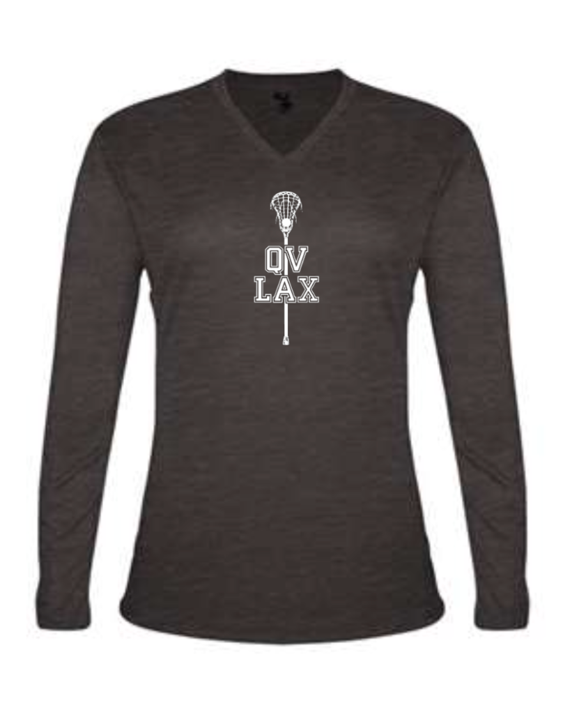 QVMS GIRLS LACROSSE -OFFICIAL 2021 FUNDRAISER ITEM - WOMEN'S V-NECK LONGSLEEVE