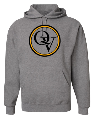QUAKER VALLEY YOUTH & ADULT HOODED SWEATSHIRT - GREY WITH BLACK & GOLD DESIGN