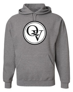 QUAKER VALLEY YOUTH & ADULT HOODED SWEATSHIRT - GREY WITH BLACK & WHITE DESIGN