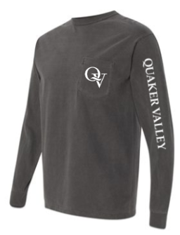 QUAKER VALLEY LONG SLEEVE GARMENT-DYED HEAVYWEIGHT POCKET TEE