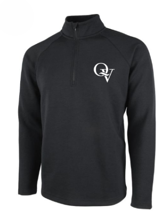 QUAKER VALLEY MEN'S EMBROIDERED QUARTER ZIP - BLACK