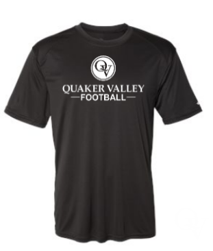 QUAKER VALLEY FOOTBALL YOUTH & ADULT PERFORMANCE SOFTLOCK SHORT SLEEVE TEE - BLACK OR GRAPHITE